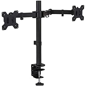 Mount-It! Dual Monitor Mount - Full Motion Two Arm Desk Mount with Clamp and Grommet Base - Fits Up to 27 Inch Screens, Universal Design with VESA 75 and 100 Compatible, 44 Lbs Capacity, MI-2752