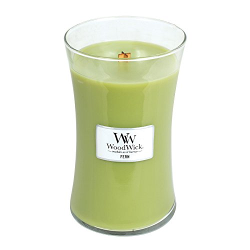WoodWick Fern, Highly Scented Candle, Classic Hourglass Jar, Large 7-inch, 21.5 oz