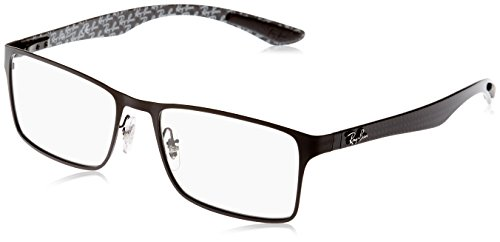 Ray-Ban RX8415 Rectangular Metal Eyeglass Frames, Matte Black on Black/Demo Lens, 53 mm ()