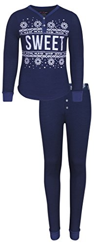 'dELiAs Girls Henley Thermal Pajama Set, Navy Sweet, Size (Junior Thermal)