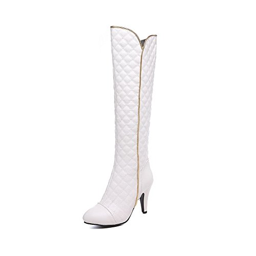 AmoonyFashion Womens High-top Solid Zipper Pointed Closed Toe High-Heels Boots White T63Uo6