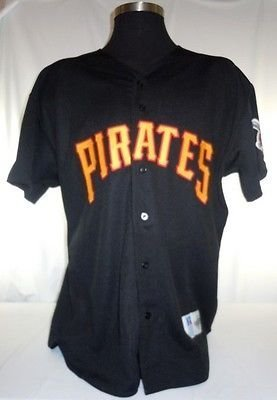 Pittsburgh Pirates Vintage Russell Black Jersey with Jackie Robinson Patch bfc62ca1f6f