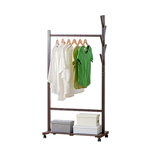 Barture Multifunctional Clothes Coat Stand Entryway Organizer Shoes Rack Hat Umbrella Bag Stand Bamboo Big Storage 360 Degrees Spinner Wheels