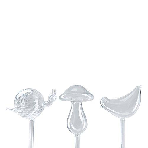 3-Pack Plant Self Watering Globes Automatic Hand-blown Glass Watering Bulbs Mini Decorative Design,Bird,Mushroom,Snail (Automatic Glass)
