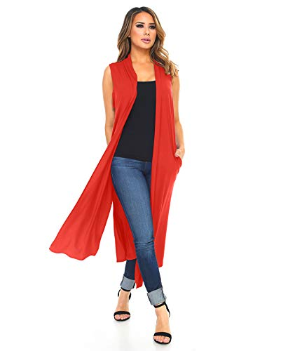 Isaac Liev Women's Long Open Front Cardigan Vest with Pockets and Side Slit (3X-Large, Bright Rust)