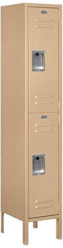 Salsbury Industries 62152TN-U Double Tier 12-Inch Wide 5-Feet High 12-Inch Deep Unassembled Standard Metal Locker, Tan Brown by Salsbury Industries