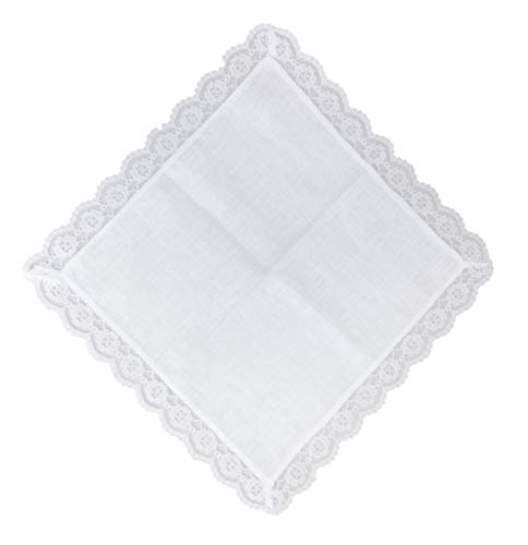 - Thomas Ferguson - Ladies White Irish Linen Handkerchief in Gift Box- BH131 Floral Lace Edge