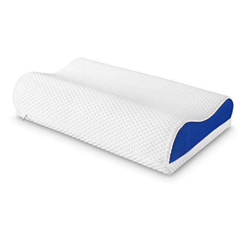 LANGRIA Orthopedic Memory Foam Contour Bed Pillow for Sleeping with Adjustable Height Detachable Foam Layer Neck Support and Washable Mesh Knit Cover Standard Size (1 Removable Loft Layer, White&Blue)