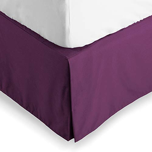 Bare Home Bed Skirt Double Brushed Premium Microfiber, 15-Inch Tailored Drop Pleated Dust Ruffle, 1800 Ultra-Soft, Shrink and Fade Resistant (Queen, Plum)
