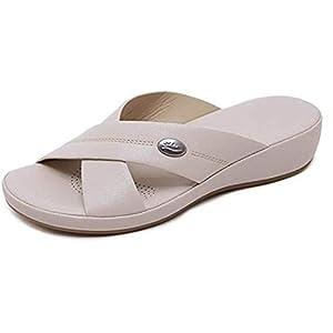 WODETIAN Pantofole in Pelle Donna Estivi Sandali Punta Aperta Moda Piattaforma Ciabatte Antiscivolo Scarpe All'aperto… 4 spesavip