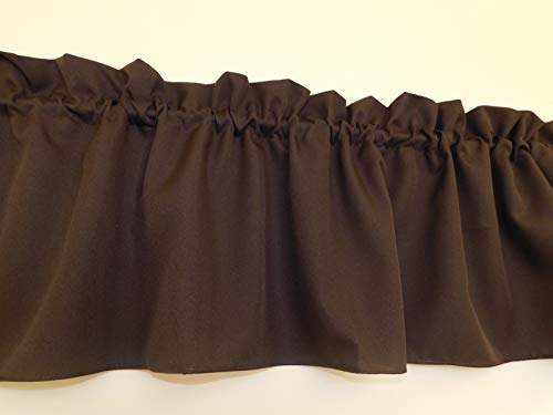 Solid Brown, Valance Curtain, coffee color, Window treatment. Window Decor. Kitchen, classroom, kids beautiful, wide 58
