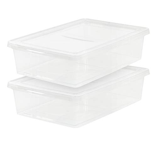 IRIS 28 Quart Clear Storage Box, 2 Pack