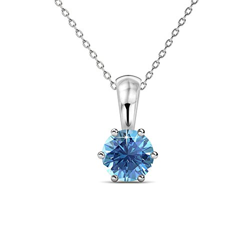 Cate & Chloe White Gold Birthstone Necklace, 18k Gold Plated Necklace with 1ct Blue Topaz Birth Stone Swarovski Crystal, December Birthstone Jewelry for Women