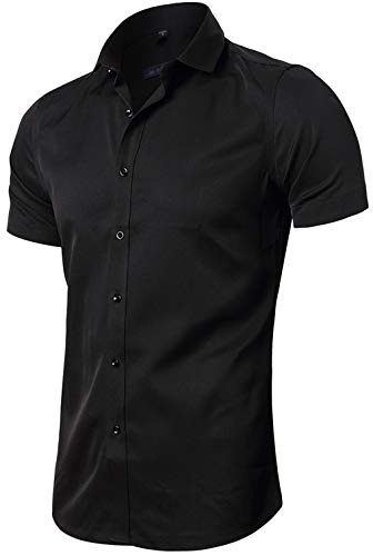 FLY HAWK Men's Regular Fit Solid Dress Shirts Button Down Short Sleeve Shirt Black US M