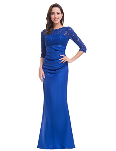 Ever-Pretty Womens Elegant Lace Long Sleeve Formal Floor Length Evening Dress 4 US Sapphire Blue