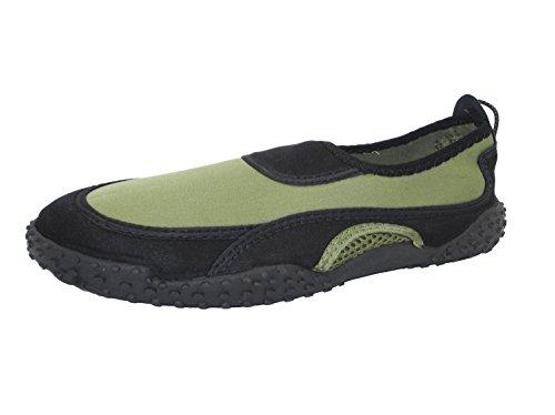P26 Mens Wasser Schuhe Aqua Socken einfach auf / leicht aus schnell trocken Pool Beach, Yoga und Bewegung Olive