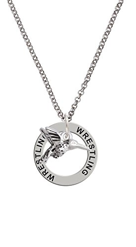 Small 3-D Hummingbird - Wrestling Affirmation Ring Necklace by Delight Jewelry