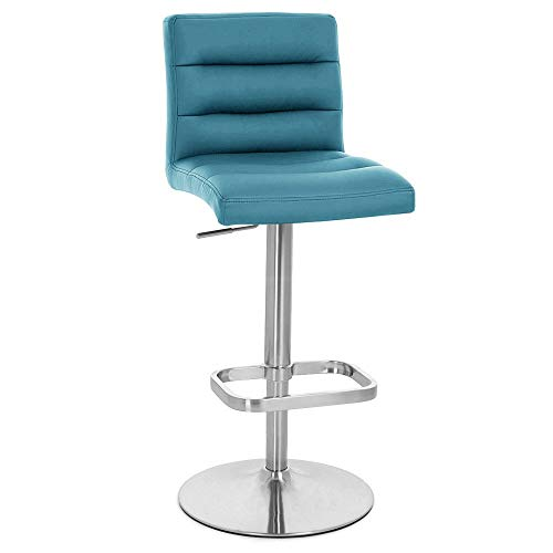 Zuri Furniture Teal Lush Adjustable Height Swivel Armless Bar Stool