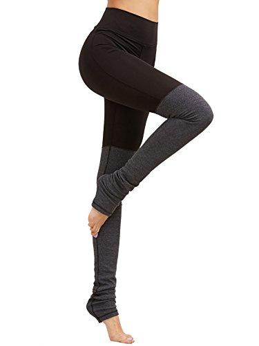ae0490d0281167 SweatyRocks Leggings Women Crisscross Stirrup Tights Gym Yoga Workout Pants  Black