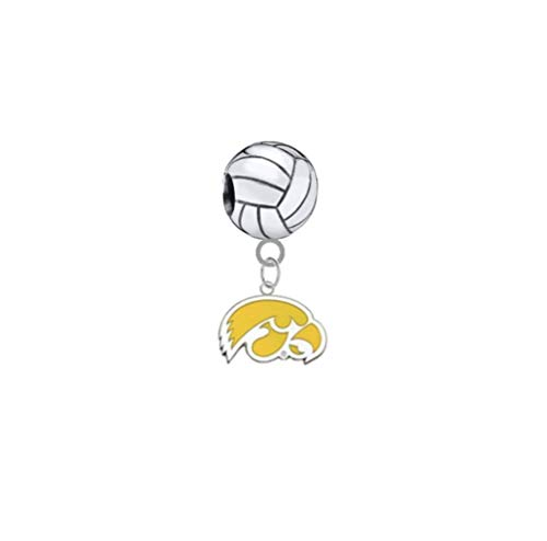 Iowa Hawkeyes Style 2 Volleyball 3D Universal European Bracelet Charm
