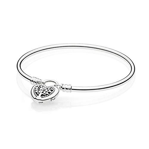 Happiness-Free Authentic 925 Silver Bracelet for Women Flourishing Heart Padlock Bangle fit Lady Bead Charm Pendant,17CM