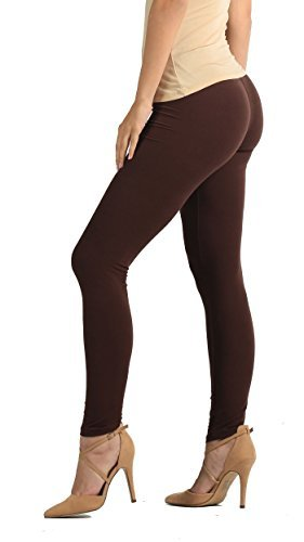 Premium Ultra Soft High Waisted Opaque Leggings for Women - Full Length - Brown - Plus Size (12-24)