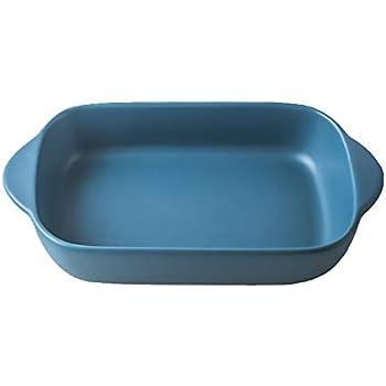 Blue Small Ceramics Rectangular casseroledish Baking Dishes with Handle for Oven Ceramic Baking Pan Lasagna Casserole Pan Individual Bakeware 9x5 inch