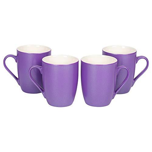 (Passion Purple Glossy Finish 10 Oz. New Bone China Coffee Cup Mug Set of)