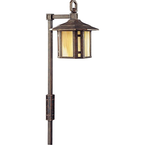 Progress Lighting P5272-46 1-Light Path Light with Honey Art Glass and Mica Accent Panels, Weathered -