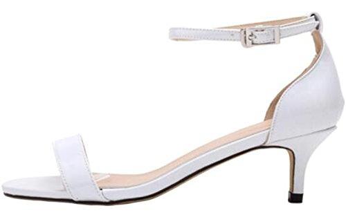 Blanc Cheville Stiletto de Mi Heel Femme talon Ouvert Sandales à Pumps WanYang Bout bride Sandales zvw6PIq67x
