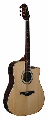 Wood Song Dreadnought Cutaway DCE-NA Acoustic-Electric Guitar with Pickup, Natural