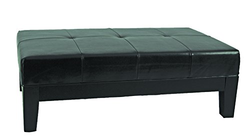 Safavieh Hudson Collection Liam Leather Cocktail Ottoman, Black