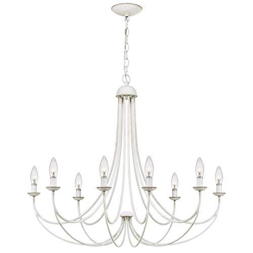 Quoizel MRN5008AWH Mirren Candle Chandelier, 8-Light, 800 Watts, Antique White (28