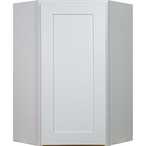 Everyday Cabinets 24 Inch Soft Close Diagonal Corner Wall Cabinet in Bright (Diagonal Corner Wall)