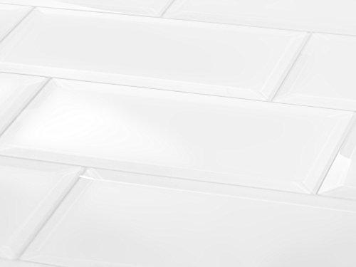 "Abolos Frosted Elegance Matte White 3"" x 12"" Beveled Glass Subway Backsplash Tile"