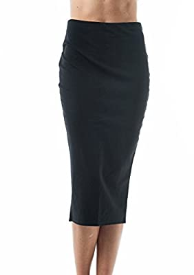 Basic Plain Long Body Con Pencil Skirt with Slit on The Back