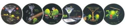 Set of 6 Michael Godard Olive Party Coasters