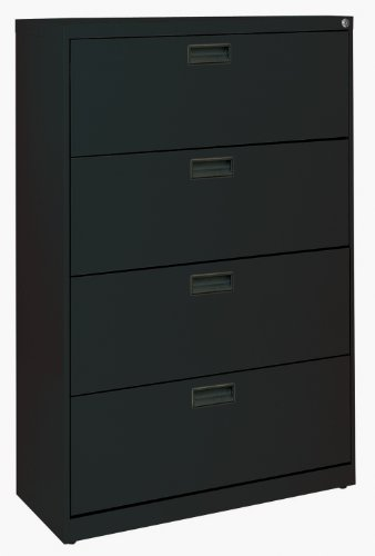 Black Steel Lateral File Cabinet with Plastic Handle, 30