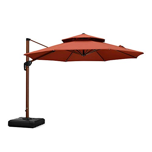 (PURPLE LEAF 11 Feet Double Top Deluxe Wood Pattern Patio Umbrella Offset Hanging Umbrella Cantilever Umbrella Outdoor Market Umbrella Garden Umbrella, Brick)