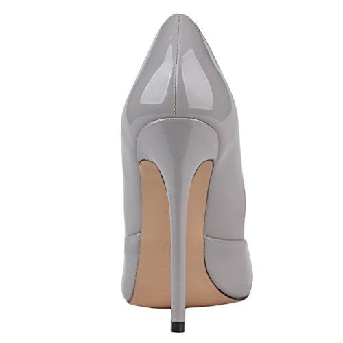 EKS - Zapatos de Tacón Mujer Gris - Grau-Lackleder
