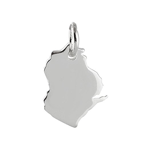 Wisconsin State Charm - 925 Sterling Silver Midwest Great Lakes Milwaukee Tiny Jewelry Making Supply, Pendant, Charms, Bracelet, DIY Crafting by Wholesale Charms