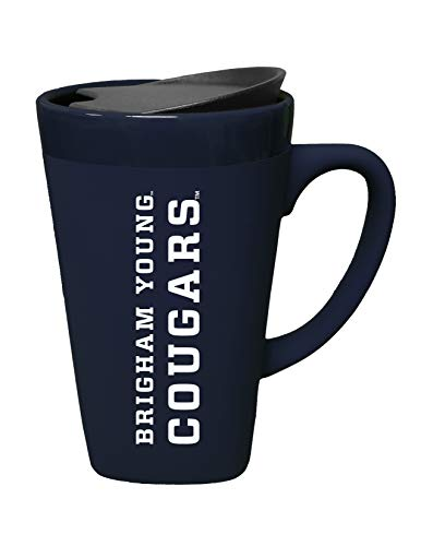 (The Fanatic Group Brigham Young University Ceramic Mug with Swivel Lid, Design 2 - Blue )