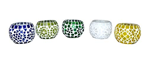 - Lalhaveli Mosaic Glass Round Candle Votive Holder 5 Pcs Set