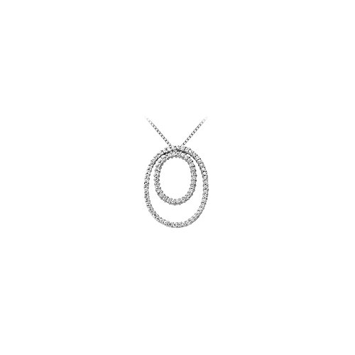 (Circle of Love Diamond Pendant Double Oval Shape in 14K White Gold 1.25 Carat)