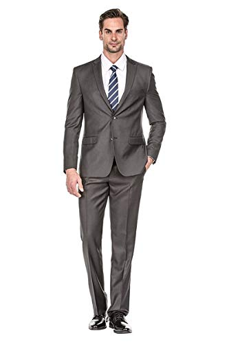 Milano Vichee Men's Suit Slim Fit Pick Lapel Two Button 2 Pieces Set (Jacket+Pant) Tuxedo Business Wedding Party Casual Color :Charcoal - Charcoal Gray Tuxedo