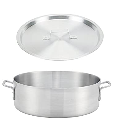 "Winco ALB-15, 15-Quart 13.8"" x 6"" Standard Heavy Aluminum Brazier Pan with Cover, Heavy-Duty Commercial Grade Braiser Pan with Lid, NSF"