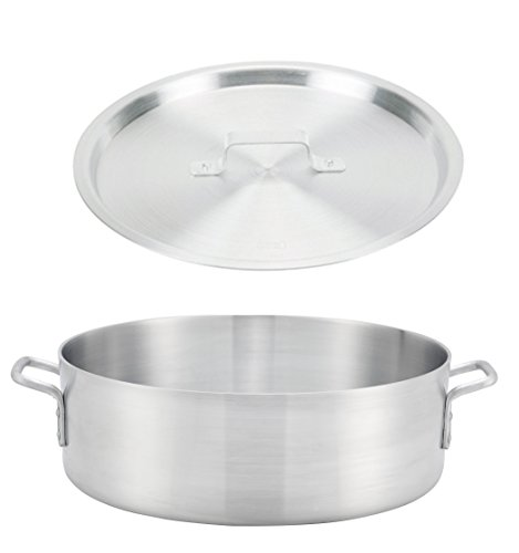 Winco ALB-35, 35-Quart 21.7'' x 6'' Standard Heavy Aluminum Brazier Pan with Cover, Heavy-Duty Commercial Grade Braiser Pan with Lid, NSF by Winco