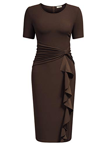 AISIZE Women 50s Vintage Ruffle Peplum Cocktail Pencil Knee Dress Small Brown
