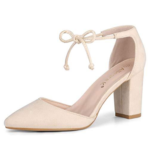 Allegra K Women's Ankle Tie Chunky Heel Pointed Toe Dress Beige Pumps - 7 M US