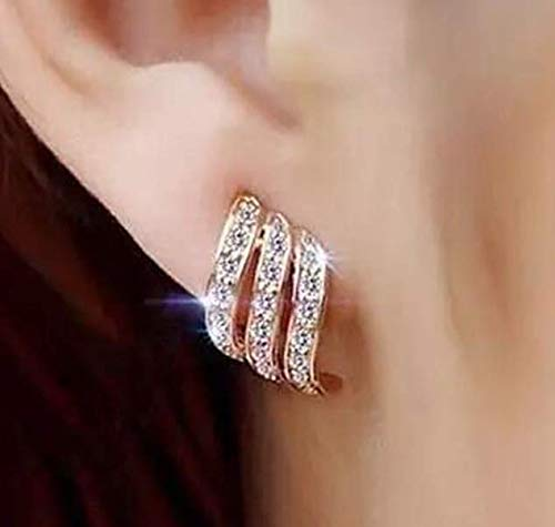 Rose Gold Diamond-studded Curving Ear Stud Exquisite Earrings for Women Wedding Jewelry